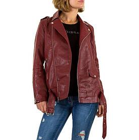 Женская байкерская куртка удлиненная из экокожи Noemi Kent (Франция), Бордовый