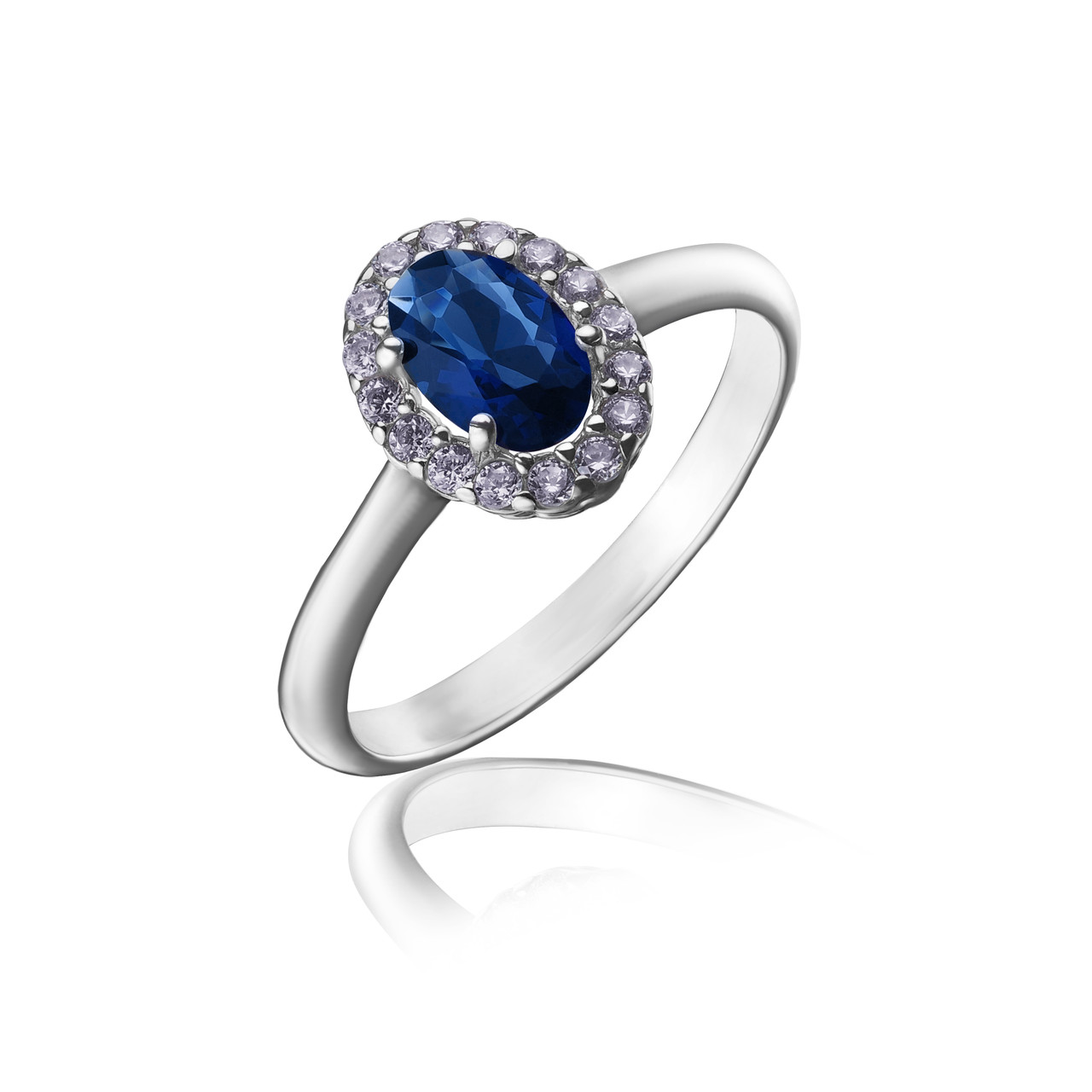 """Срібне кільце """"Лілі"""" з овальним синім фианитом арт-910052"""