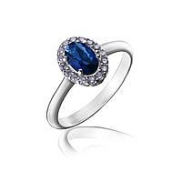 Серебряное кольцо с овальным синим камнем и фианитами