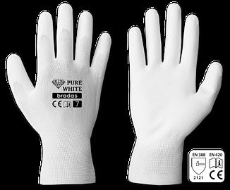 Рукавички захисні Bradas PURE WHITE поліуретан р. 8