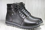 Зимові чоловічі високі черевики натуральна шкіра коричневі, фото 3