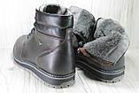Зимові чоловічі високі черевики натуральна шкіра коричневі, фото 4