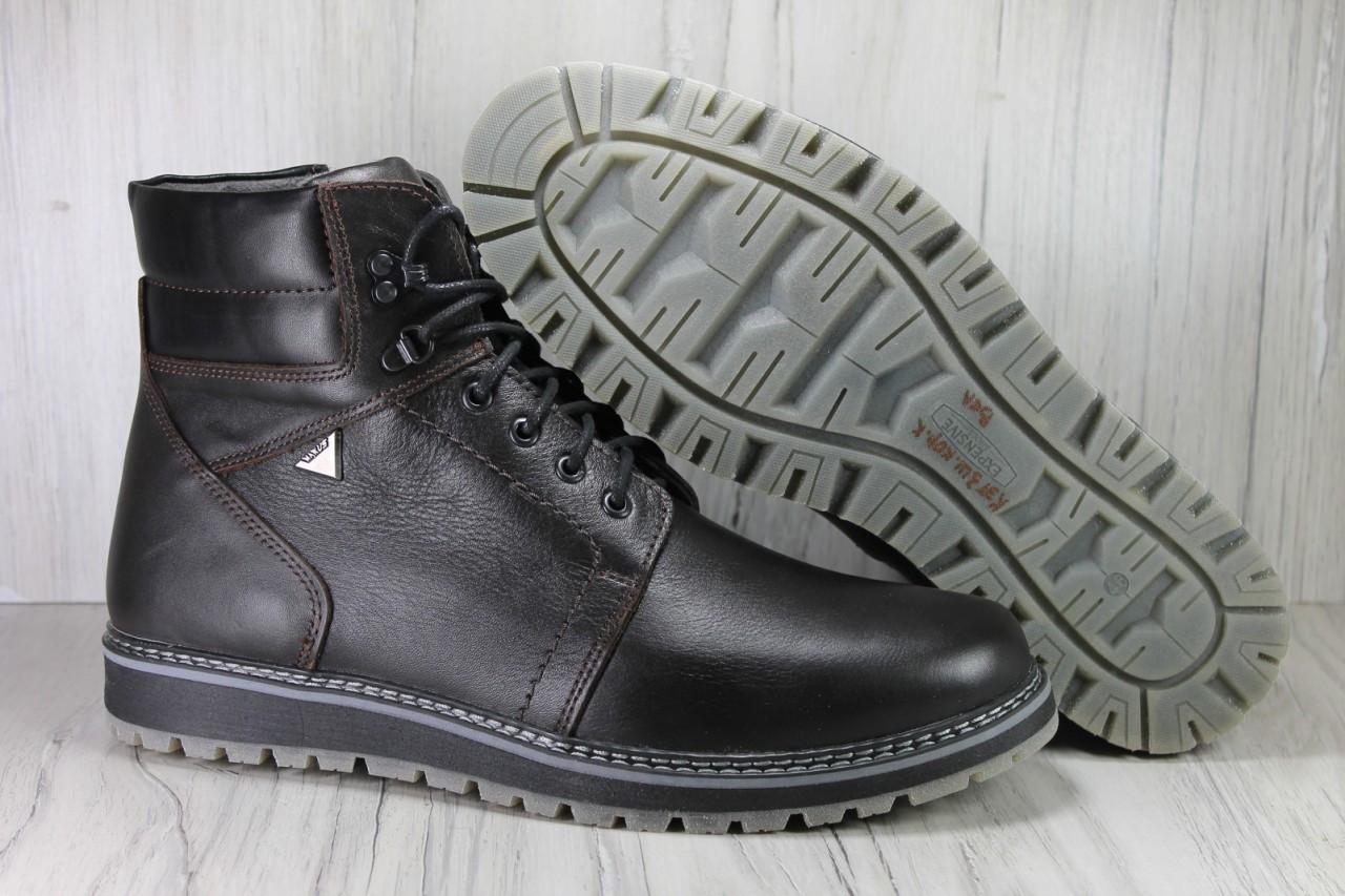 Зимові чоловічі високі черевики натуральна шкіра коричневі