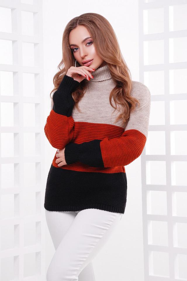 Женский вязаный свитер под горло, трёхцветный, размер 44-52