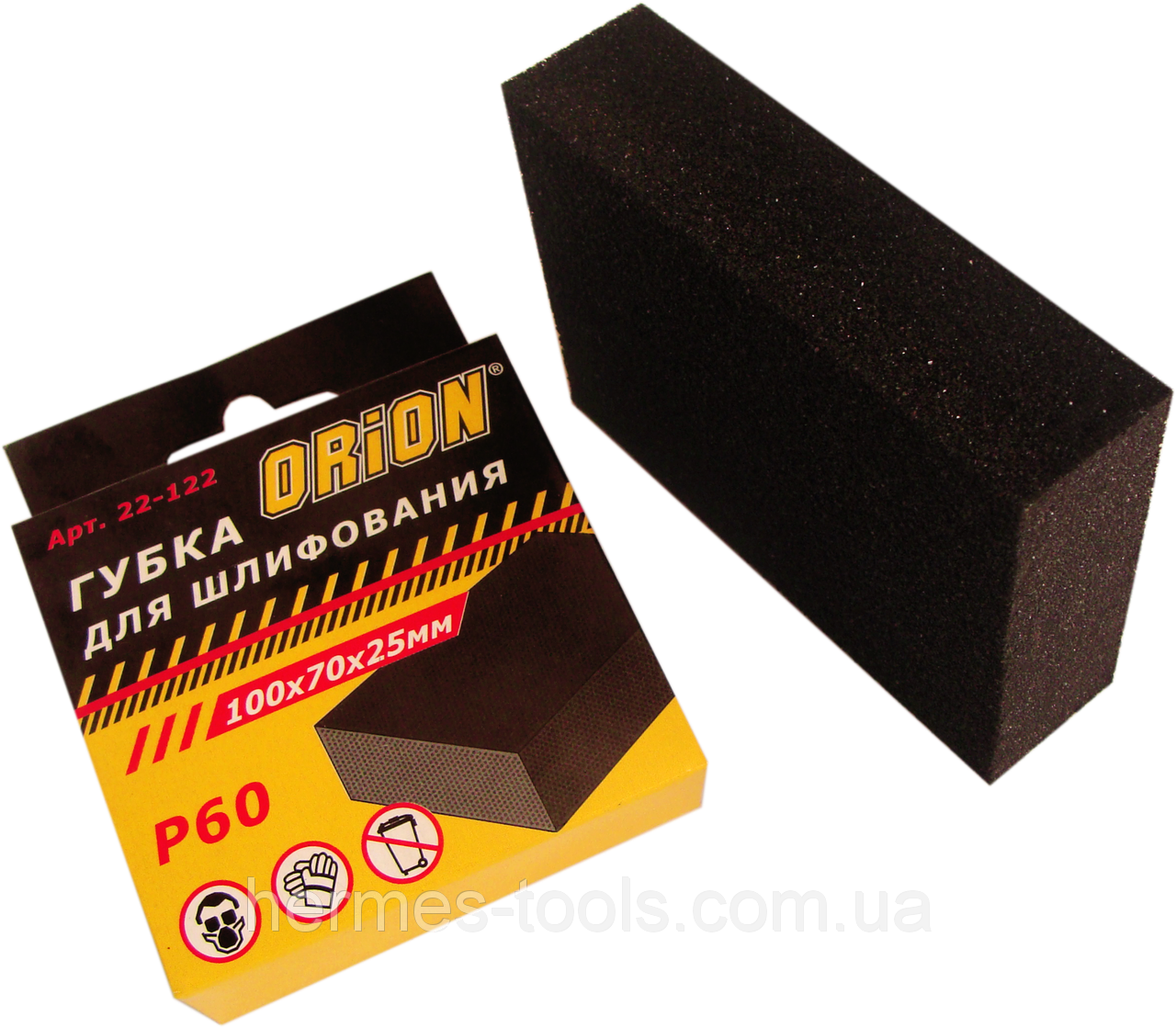 """Губка для шлифования 100x 70 x 25 мм, """"ORION"""" Р 80"""