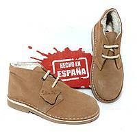 Женские замшевые ботинки дезерты зима бежевые