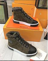 """Ботинки зимние женские брендовые """"Гермес"""" (натуральная замша) зеленые размер 36-40"""