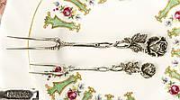 Серебряные сервировочные вилки, Хильдисхаймская Роза, серебро 835, Германия, Christopher Bach