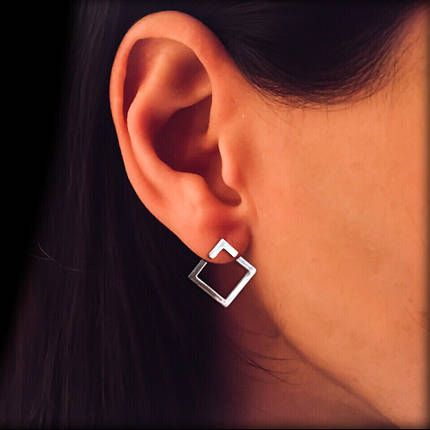 Срібні сережки-пусети Квадрат, фото 2