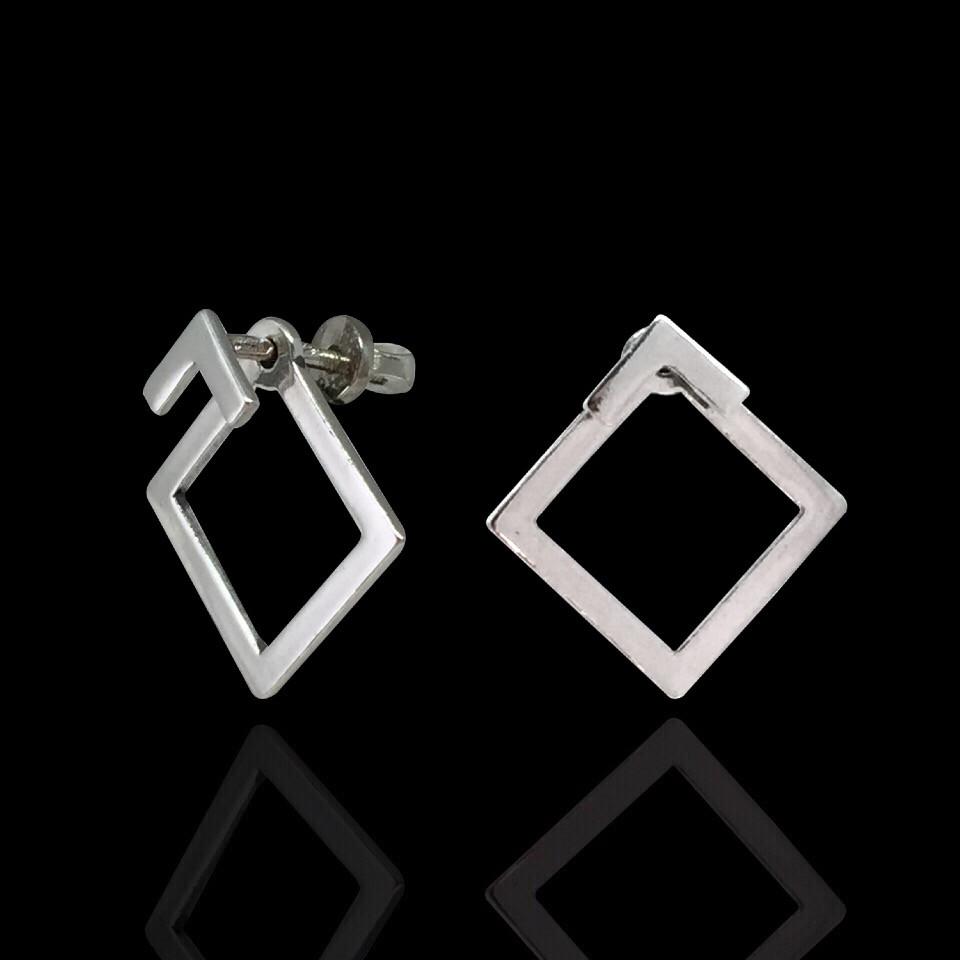 Срібні сережки-пусети Квадрат