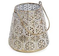 """Подсвечник винтажный """"Узор"""", декоративный металлический подсвечник со стеклянной колбой 15,5 см"""