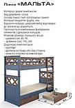 Ліжко Мальта двоярусна 80 (Мебигранд/Mebigrand) 900х2040(2140)х1740мм, фото 4