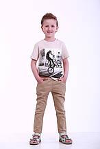 Детские летние брюки для мальчика, р. 96, Коричневый