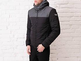 "Мужская демисезонная куртка Pobedov Jacket ""Rise"" Black - Gray Print, фото 2"