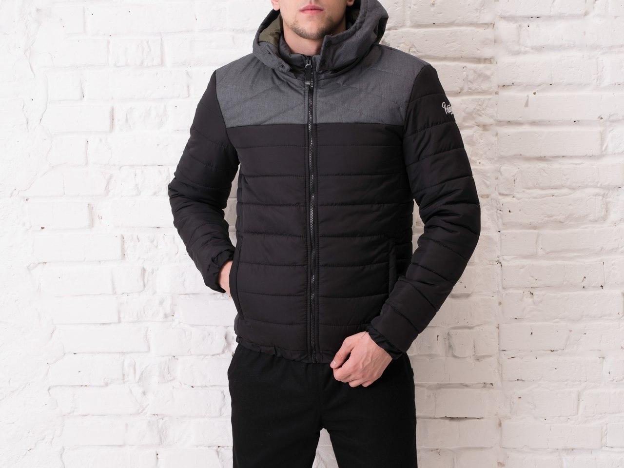 "Мужская демисезонная куртка Pobedov Jacket ""Rise"" Black - Gray Print"