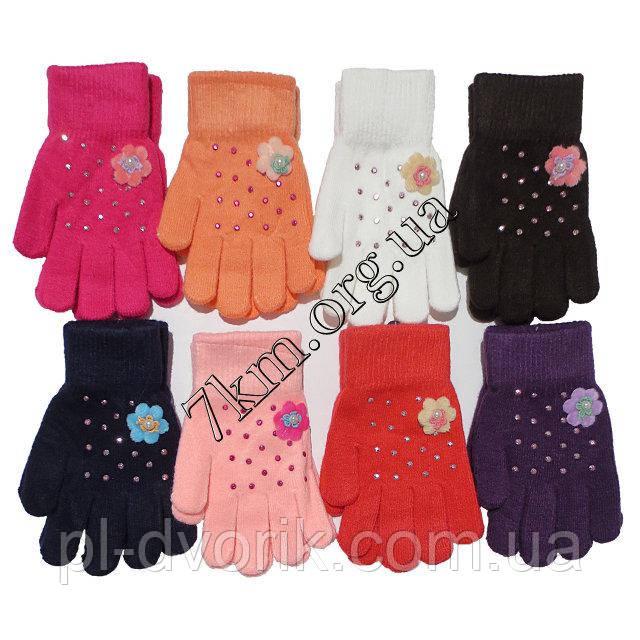Перчатки подростковые одинарные +начес для девочек 6-9 лет   5656 S цена 55