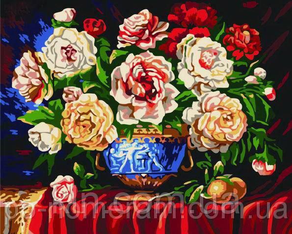 Набор для рисование картин по номерам Menglei G074 Разноцветные чайные розы цвет 40 х 50 см 950 цветы