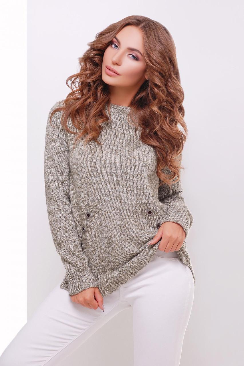 Женский вязаный свитер, цвет хаки, размер 44-50