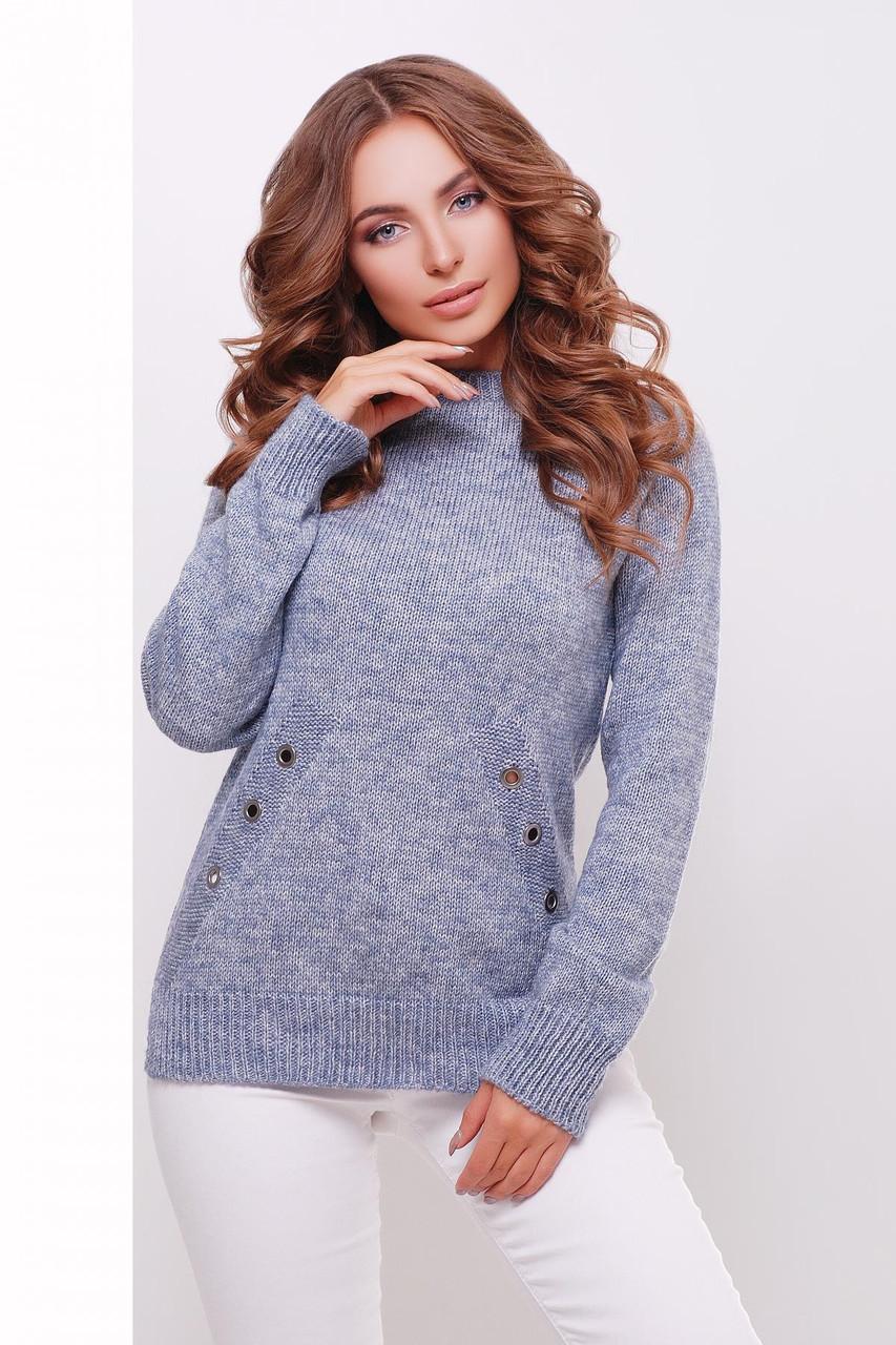 Женский вязаный свитер, цвет  сталь, размер 44-50