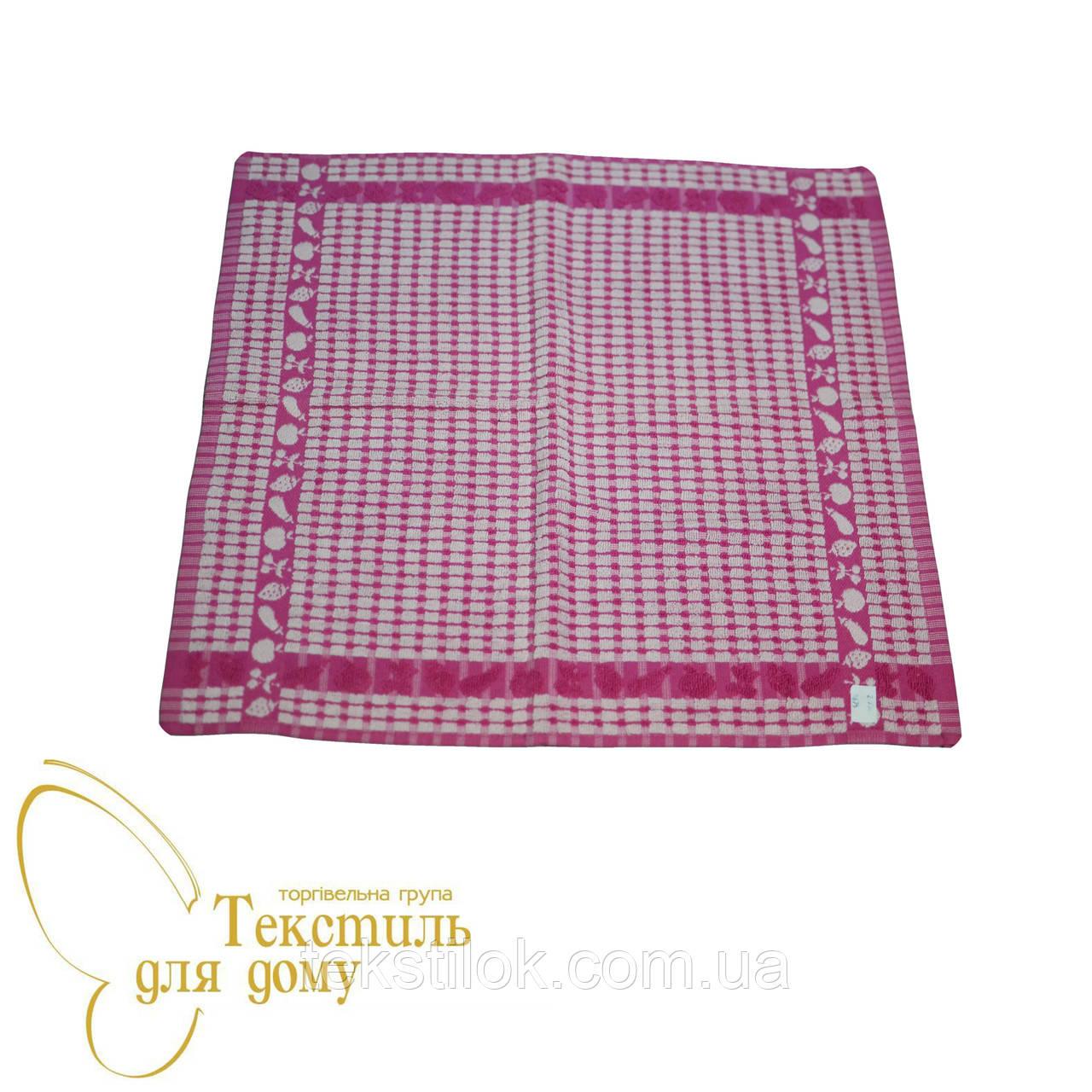 Кухонное полотенце махра 50*50 ассорти, розовое