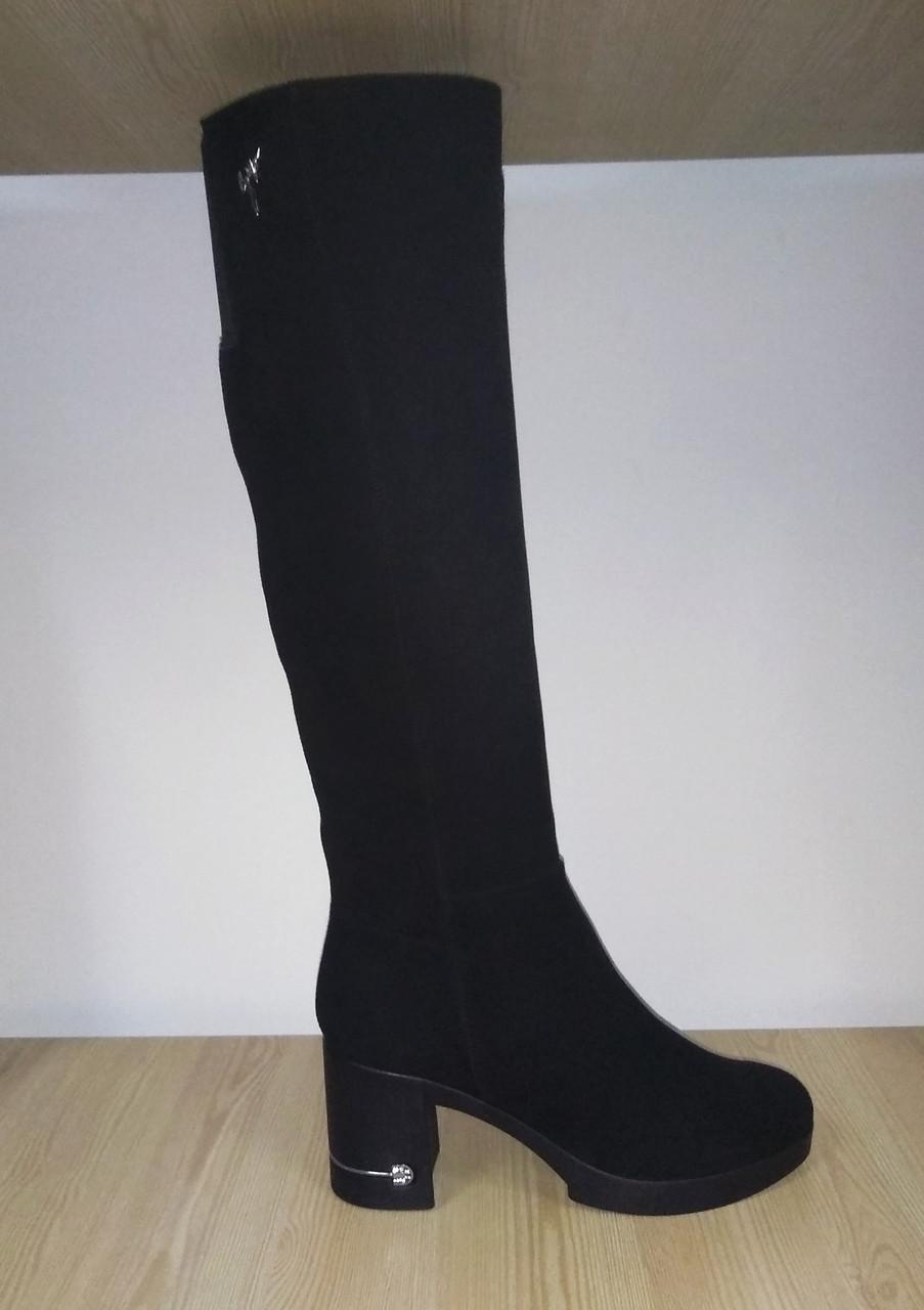 b235d8085 ... Женские зимние кожаные сапоги на устойчивом каблуке (в наличии такие же  из натуральной замши)