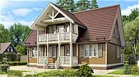 Дом из профилированного клееного бруса, деревянный 10х12 м, фото 1