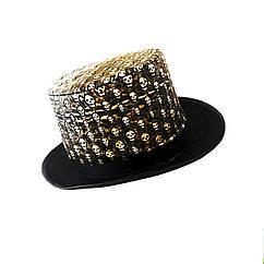 Шляпа Цилиндр с черепами (Кожа + фетр)