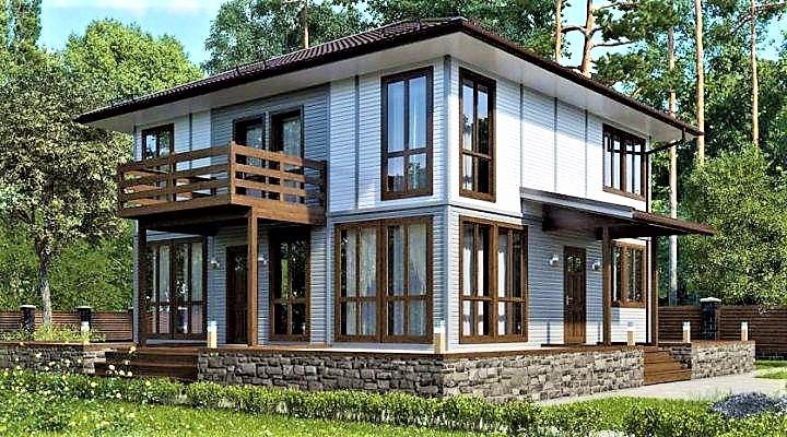 Дом из профилированного клееного бруса, деревянный 9х10 м