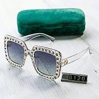 Женские солнцезащитные очки Gucci Гуччи квадратные со стразами серебристые  (реплика) 26978d69dcf
