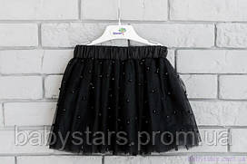 Черная фатиновая юбка для девочки воздушная с бусами, код: 7027
