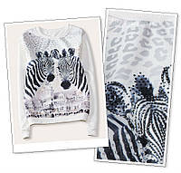 Женская белая кофта с рисунком ,теплий свитер,теплая кофта