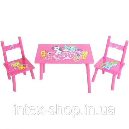 Детский столик и два стульчика М 1522 Розовый пони, фото 2