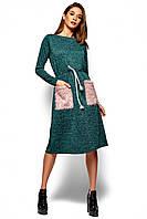 Теплое темно-зеленое платье, фото 1