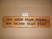 """Табличка """"Чем шире наши морды, тем теснее наши ряды"""" №66"""