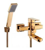 Смеситель LEB3-23-G ванна однорычаж.кор.гусак, кноп/п, Ø35(золото)