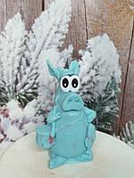 Подарочное мыло голубого цвета хрюша РЫБАК. Вес 130 г. Ручная работа. Новогодний сюрприз семье в сочельник.
