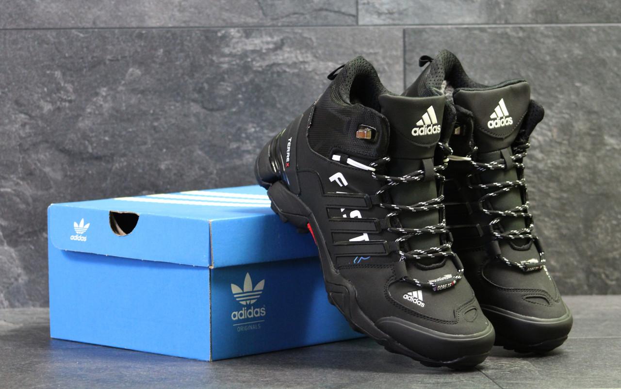 Мужские кроссовки зимние Adidas Terrex Fast R реплика черно белые с синим 1446380c78370