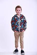 Куртка-ветровка для мальчика с яркими узорами, р. 98, Синяя