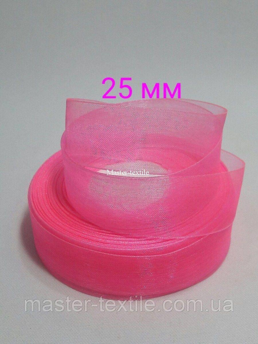 Лента из органзы 25 мм /20 ярдов, цвет розовый, 20 шт/упаковка