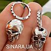 Чоловічі стильні сережки Черепа зі срібла 925 - Срібна чоловіча сережка череп (пара -2шт.), фото 6