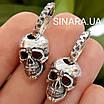 Мужские стильные серьги Черепа из серебра 925 - Серебряная мужская серьга череп (пара -2шт.), фото 4