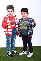 Куртка-ветровка для мальчика с яркими узорами, р. 98, 104, 110, 116, 122 Синяя 98