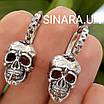 Мужские стильные серьги Черепа из серебра 925 - Серебряная мужская серьга череп (пара -2шт.), фото 2
