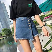 Юбка-шорты джинс на угол с пуговицами, расцветки, фото 1