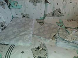 """Детское постельное белье """"Мишки крупные с серыми тучками"""",   9 предметов!"""