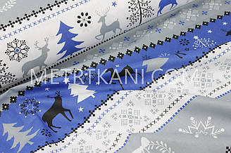 """Новогодняя ткань """"Оленив лесу на полосках """" серого и синего цвета№ 1244"""