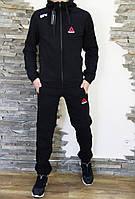 Спортивный мужской теплый костюм Reebok UFC Рибок ЮФС с капюшоном черный (реплика)