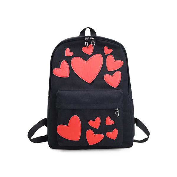 Черный рюкзак Сердечки
