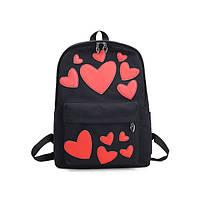 Черный рюкзак Сердечки, фото 1