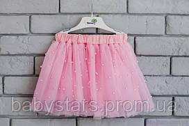 Розовая юбка из фатина для девочки воздушная с бусами, код: 7027
